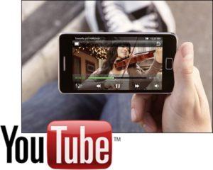 Смартфон Samsung и логотип YouTube