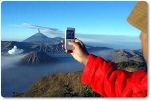 Съёмка вулкана на телефон